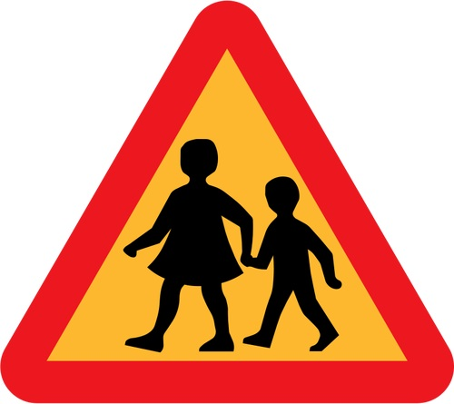 תמרור זהירות ילדים חוצים