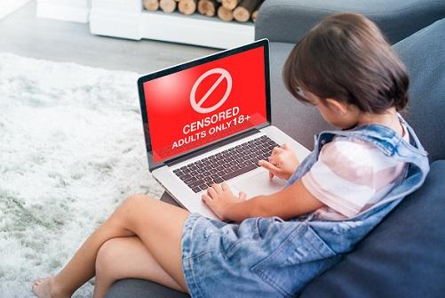 ילד עם מחשב כאשר על הצג מופיע אייקון אין כניסה. אתר למבוגרים.